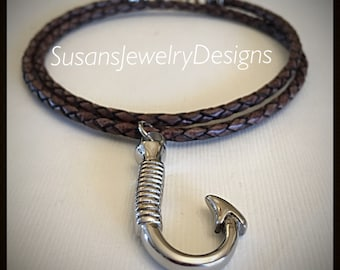 Fish Hook Urn Necklace - stainless steel fish hook shaped urn pendant - leather chain with stainless & silver components - memorial necklace