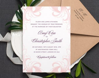Elegant Wedding Invitation / 'Country Manor' Vintage Calligraphy Wedding Invite / Peony Pink Rose Deep Plum / Or Custom Colours / ONE SAMPLE