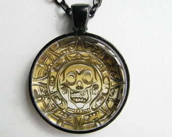 Men's PIRATE MEDALLION Necklace -- Pirate's Gold, Captain Jack Sparrow's golden treasure, Skull compass necklace, Caribbean pirate pendant