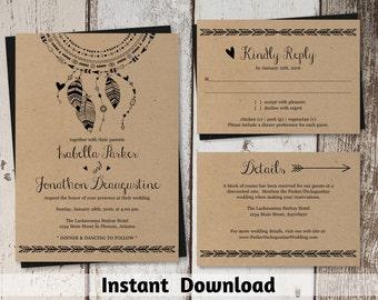 Wedding Invitation Template - Printable Set | Boho Dreamcatcher Suite on Kraft Paper | Rustic Bohemium Editable PDF | DIY Instant Download