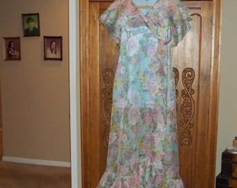 SALE Organza Gown,See Through Capped Gown Over Blue Mini 1970's,This is one piece,size Small,Feminine,Ruffles Maxi and Sexy mini Skirt