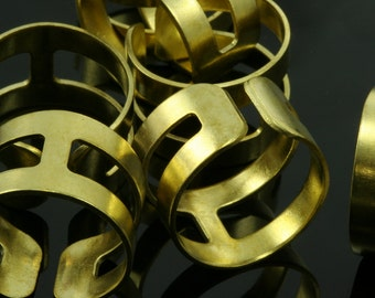 15 pcs 20 x 13 mm (hole 19 mm US 9 ) raw brass adjustable knuckles ring, industrial brass charms, findings spacer bead Ri19i-1120