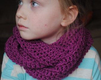 Infinity Scarf, Girls Infinity Scarf, Womens Infinity Scarf, Kids Purple Infinity Scarf, Crochet Infinity Scarf, Circle Scarf, Purple scarf