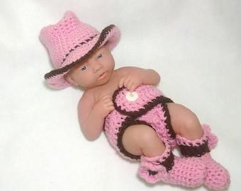 Newborn Crochet Cowgirl Cowboy Outfit baby crochet outfit baby cowgirl outfit boots baby girl baby boy cowgirl cowboy hat newborn photo prop