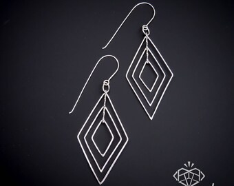 Geometric Jewelry – Geometric Earrings – Kinetic Jewelry – Fidget Jewelry – Handmade Sterling Silver Earrings – Geometric Earrings