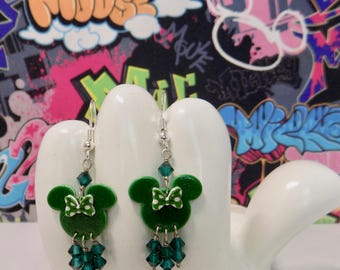 Minnie Mouse St. Patricks Day With Green Polka Dot Bow Dangle Earrings