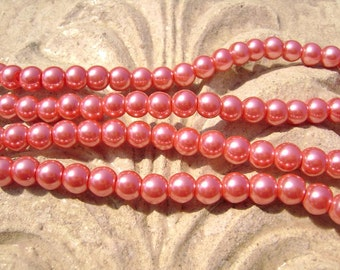 Pearlescent Glass Pearl Pearls Beads Cranberry Red 6mm Round LARGE 30mm Strand