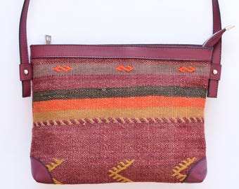 Ethnic Cross Body Bag -037  Vintage Kilim Rug Carpet Leather Cross Body Bag Bohemian Boho Bag Hippie Ethnic Tribal bag Southwestern bag