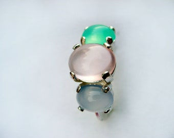 """Natural Gemstones Rose Quartz, Blue Chalcedony, Green Chrysoprase """"Pretty in Pastel"""" Sterling Silver Ring. Size 8"""