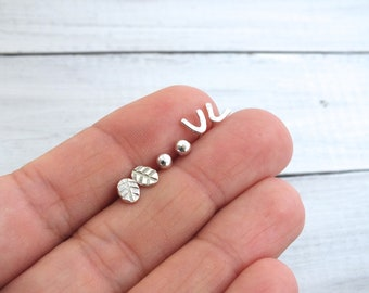 Tiny Studs, Sterling Silver Minimalist Stud Earrings, Silver Ball Studs, Tiny Silver Triangle Studs, Tiny Silver Leaf Studs, Everyday Studs