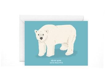 Polar Bear greetings card - polar bear card polar bear stationery arctic card polar bear greetings bear greetings card polar bear art