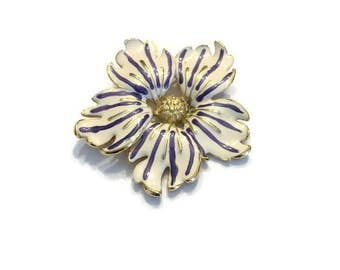 Vintage Enamel Flower Brooch, White, Purple and Gold Flower Brooch, Costume Jewelry