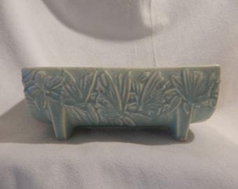 Nelson McCoy Pottery papillon Floral planteur Aqua vert des années 1940
