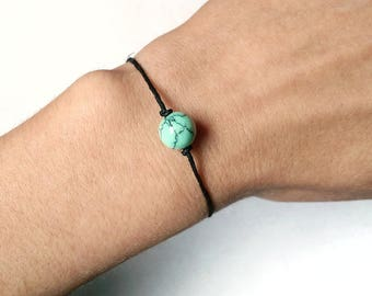 Turquoise Beaded Bracelet - Leather Turquoise Bracelet, Hemp Bracelet, Boho Leather Bracelet, Black Leather Bracelet, Minimalist Bracelet