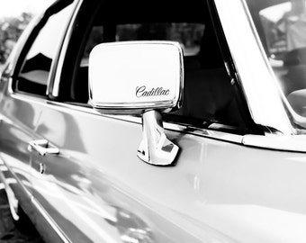 1976 Cadillac Fleetwood Side Mirror Car Photography, Automotive, Auto Dealer, Classic, Fin, Mechanic, Boys Room, Garage, Dealership Art