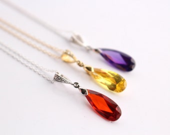 Bridesmaid Necklace Cubic Zirconia Teardrop Jewelry Sterling Silver or Gold Filled Pendant Wedding Jewellery Pick Your Color for Prom Party