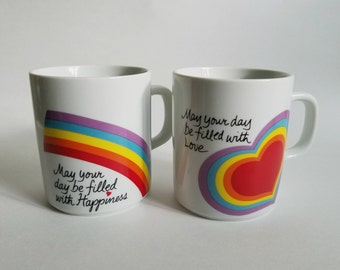 Set of Two Avon Love and Happiness Rainbow Mugs, Easter 1984
