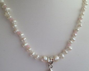 Necklace — Pink Quartzite Droplet Pendant, Freshwater Pearls and Pink Quartzite