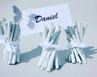 White Willow Table Decoration 10 pcs., Wedding Table décor, Place Card Holder, White Willow Place Cards Holder, Wedding Rustic table décor