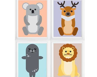 "Baby Elephant & Monkey Nursery Decor, Chevron Elephant Nursery Art, ""dream big little one""  Custom color change option available"