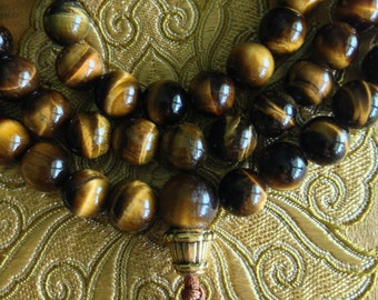 Yellow Tiger Eye Mala 108 Beads with Knot End / Prayer Beads / Meditation / Mala Necklace / Handmade in the USA