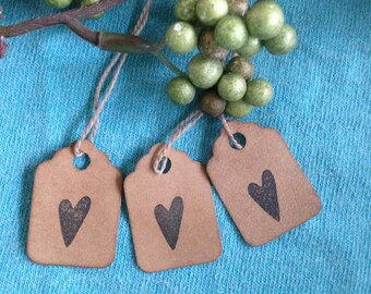 50 Tiny Primitive Heart Stamped Tags Coffee Stained Gift Tags Hang Tags Strung scalloped edge  Tags