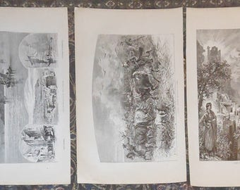 five black and white western prints ca.1880 s