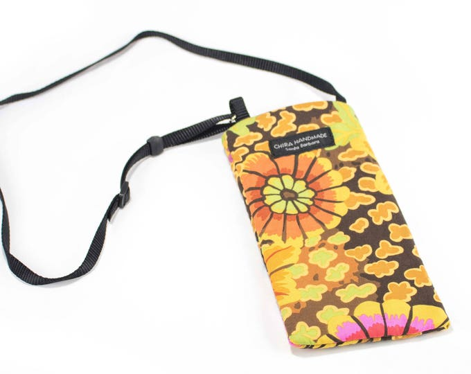 Eyeglass case for readers - Happy Floral fabric Eyeglass Reader Case -with adjustable neck strap lanyard