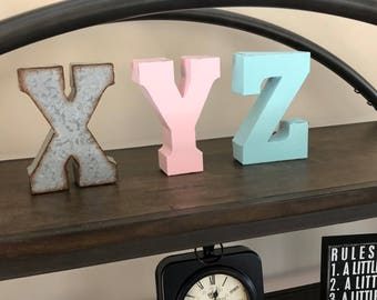 Clearance/ Metal Letter A-Z/ Metal Letters/ 7 inch letter/You pick Metal Letter/ Initials/Wall Letter/ Shelf/Industrial/Shelf