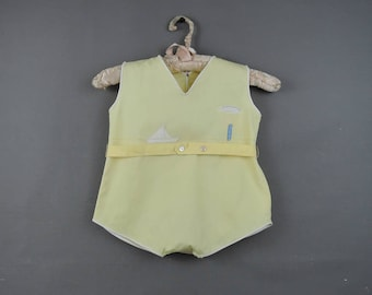 Vintage 1930s Yellow Baby Romper Onesie Playsuit with Sailboat Appliques