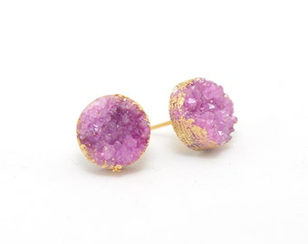 Pink Druzy Earrings | Pink Earrings | Druzy Earrings | Gifts for Her | Simple Earrings | Post Earrings | Gift for Wife | Bridesmaids Gift