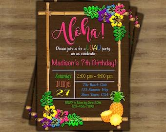 Luau Birthday Invitation; Luau Invitation; Hawaiian Invitation; Hawaiian Party Invitations; Tropical Invitation; Tiki Party Invitation