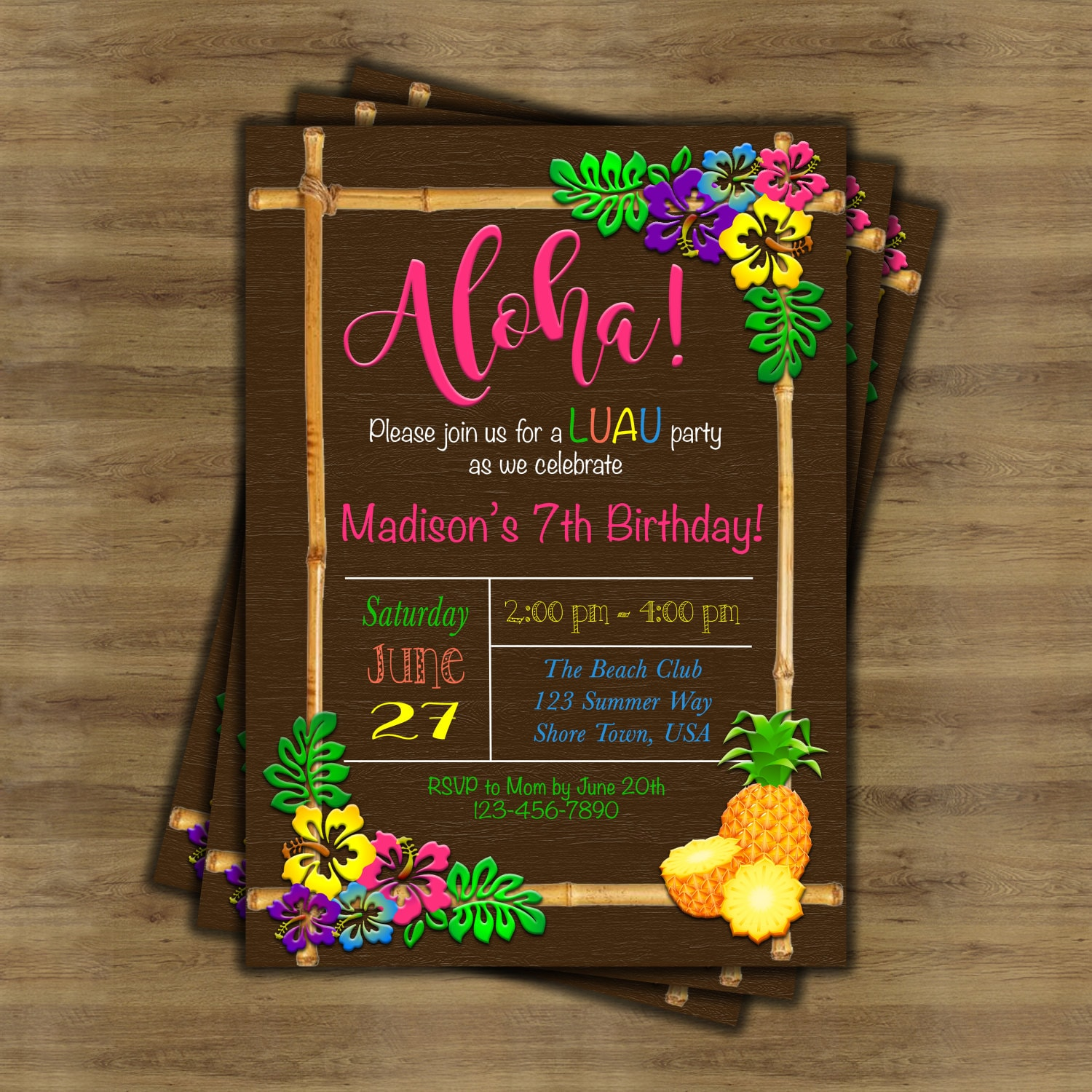 Luau Invitation Birthday Hawaiian