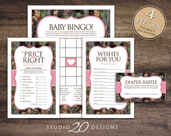 Instant Download Pink Camo Baby Shower Games Pack, Printable Realistic Pink Camouflage Bingo, Price Is Right, Wishes, Diaper Raffle #31D