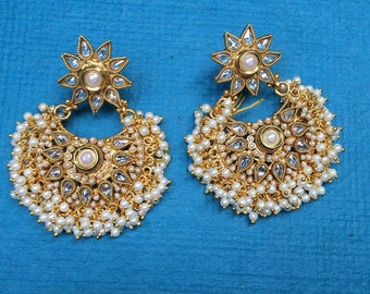 White Pearls Beaded Earpieces