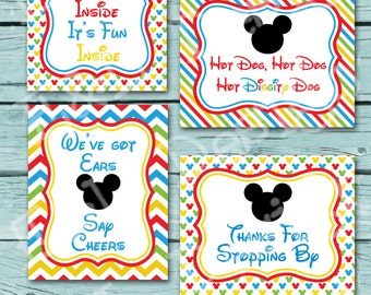 Mickey Mouse Birthday 8x10 Party Signs,Mickey Mouse Party,Instant Download,Printable