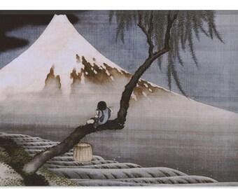 "Boy on Mt Fuji by Katsushika Hokusai Canvas Art Print (1351) 41""x27"" Thick Bars"