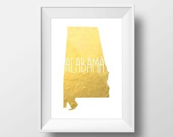 Alabama State Gold Foil Printable Art, Alabama Print, Alabama Art, Modern Art,