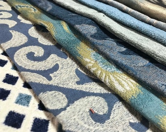 Blue and Teal Fabric Samples Ikat Geometric Velvets Brocades and Stripes Home Decor Patchwork for Pillow Covers and Totes - FS17