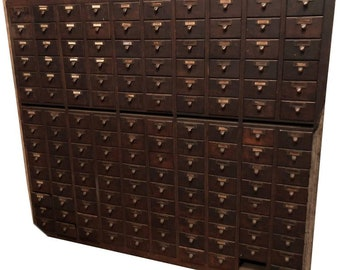 Midcentury File Cabinet of Oak Used in Library, 150 Drawers with Brass Pulls