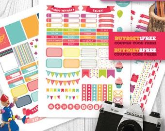 Birthday Planner Stickers for Erin Condren Life Planner, Party Stickers Kit, Printable Planner Stickers, Birthday Stickers Kit