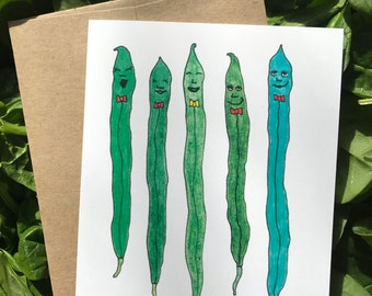 String Bean Party -  4.25 x 5.5 inch Whimsical Vegetable Illustration Blank Notecards printed on Recycled Paper