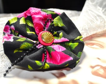 Vintage inspired, Black tea rose, Rock-a-billy, Pin-up, Retro, 50's fashion, Brooch