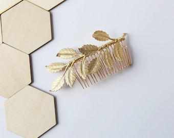 Oversized Leaf Comb - Bridal Hair Accessories, Boho Wedding, leaves, Wedding Hair Accessories, hair piece, clip, barrette, under 30, Gold