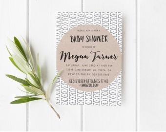 Gender Neutral Baby Shower Invitations, Boy or Girl, Modern, Tribal, Arrow, Aztec Baby Shower Invite  [307]