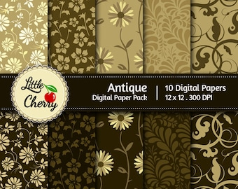 Antique - 10 printable Digital Scrapbooking papers - 12 x12 - 300 DPI