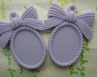 SALE MATTE Bow cameo setting frame 2pcs Lavender Fits 25mm x 18mm cameo