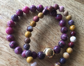 Mookaite Mala Bracelet, Stretch Bracelet, 6mm Gemstone Beads, Yoga Jewellery, Meditation Jewelry, Boho Style, Healing Crystals Bracelet