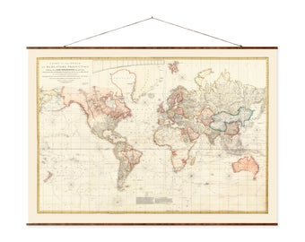 "Chart of the World, 29""x44"", Canvas Map, world map, vintage maps, antique map, map of the world, roll down map, large canvas map"