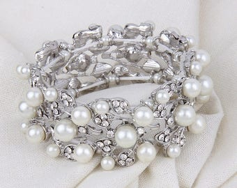 Wedding Bracelet, Silver Crystal Pearl Bridal Stretch bracelet Wedding Bracelet Bangle Bracelet Bridesmaid Jewelry Bridesmaid Bracelet Retro